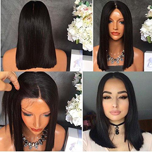 Perruque Maycaur pour femmes, coupe carrée avec cheveux noirs synthétiques résistants, petits cheveux et fixation en dentelle