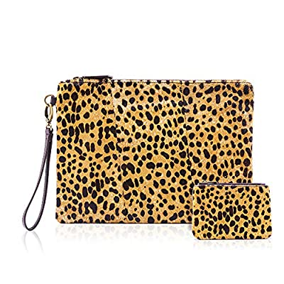Leopard Clutch with Coin leopard Purse for women wristlet Wallet Genuine Leather Haircalf Ladies Evening Envelope bag