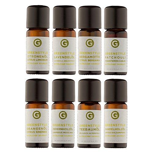Ätherisches Öl Set - 100{f964c879b31a1ccf1b2f26077b7ff3a1972e0beea2412740affcd74a6122ff7a} naturreine Öle von greenstyle - Teebaum, Lavendel, Zitrone, Orange, Sandelholz, Zeder, Bergamotte, Patchouli - (8x10ml)