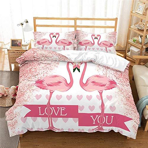 NYLIN Copripiumino Fenicottero Rosa Lenzuola Letto Romantico Amore Flamingo Set Biancheria 2-4 PCS Copripiumino/Lenzuola/Federes per Bambini Adulte Camera Letto Singolo Matrimoniale King