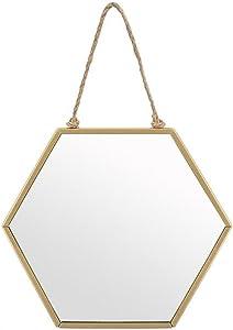 Espejo hexagonal de metal dorado para colgar, de Piquaboo, dorado, 19x16 cm