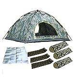JFZCBXD Acampar al Aire Libre Tienda de campaña de Camuflaje automático, Acampar 3-4 Personas Tienda de campaña, Cojín de la Humedad, Tres Cojines inflables, Tres Saco de Dormir Tienda Impermeable