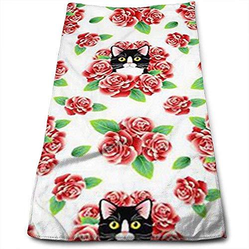 Tuxedo Cat and Roses Personnalité Motif Amusant Serviettes de Toilette Fibre Superfine Super Absorbant Serviettes Douces pour Le Gym