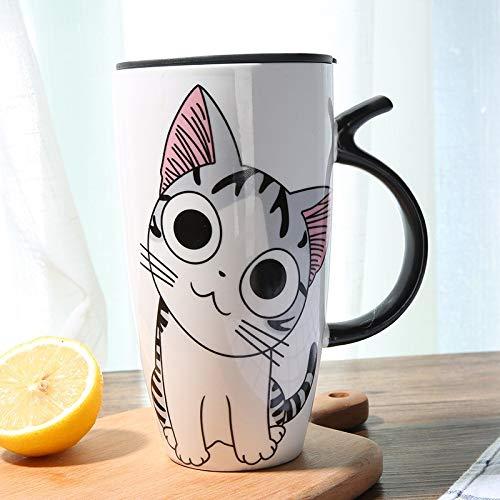 Venta 600 ml de dibujos animados creativo gato taza con tapa leche taza de café para té porcelana taza de viaje de gran capacidad cerámica regalos agradables