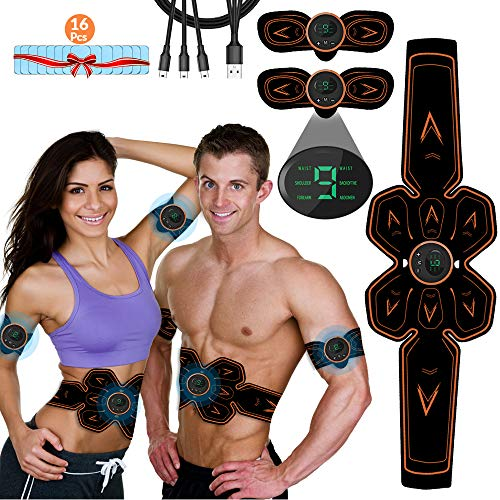 ABS Stimulator Muscle Toner, Vcloo Muscle Toner Rechargeable Abdominal Muscle Trainer, Abdominal Toning Belt Muscle Training Belt, Abdomen Muscle Trainer Fitness for Men Women with 16PCS Replaceable Abs Gel Pads (Black)