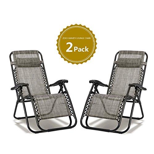 SIRUITON Set of 2 Heavy Duty Textoline Zero Gravity Chairs Garden Outdoor Patio Sunloungers Folding Chairs (gray)