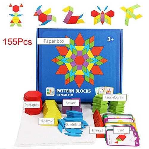 Wooden Pattern Blocks Classic Educational Toys Jigsaw Shapes for Children 155pcs Blocks 24 Cards 1 Storage Bag