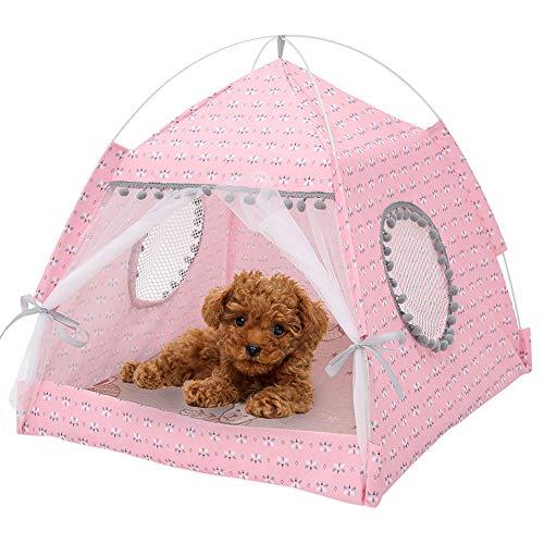 You's Auto - Cama para perros y gatos, extraíble y lavable, con cojín, se monta rápidamente y se desmonta para cachorros pequeños gatos perros conejos (rosa, 38 x 38 x 39 cm, 2,5 kg)