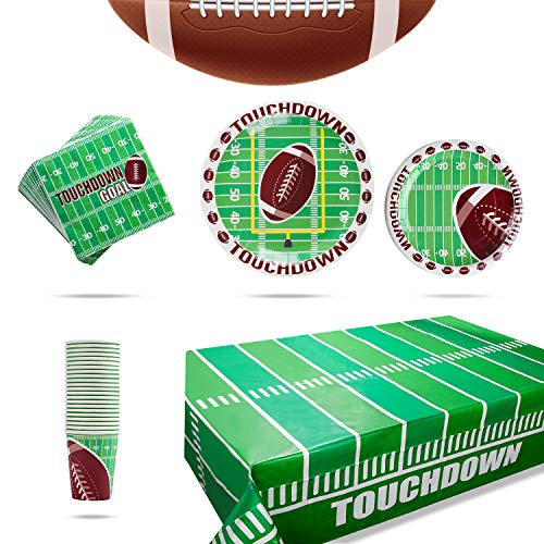 Football Theme Decoration Party Supplies Pack for 25 People, Includes 25 Dinner Plates, 25 Small Plates, 25Napkins, 25 Cups &1 Football Tablecloth- Perfect for Football Party Games or Birthday Party