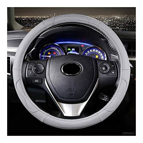 Cubierta de Volante Cubierta del volante del cuero genuino for Toyota Corolla Fortuner Sequoia Auris Avensis YARIS Vios Celica 86 Accesorios for automóviles mejor agarre ( Color Name : Gray )