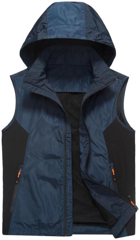 JBHURF Frühling und Herbst Outdoor-Freizeit Weste Herren Single-Layer-Wasserdichte warme Kapuzen-Weste Jacke groe Gre Khaki (Farbe   Blau, gre   L)