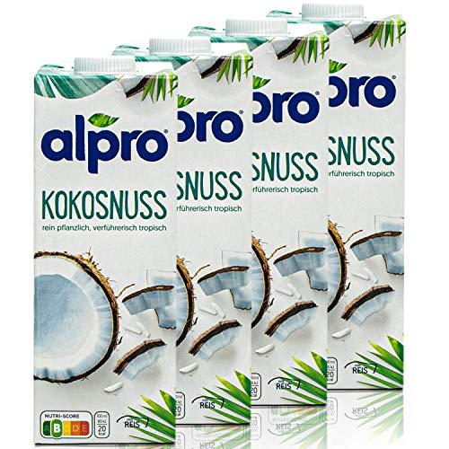 Alpro - 4er Pack Kokosnussdrink Original 1 Liter - Kokosnuss Kokos Drink 100 % pflanzlich