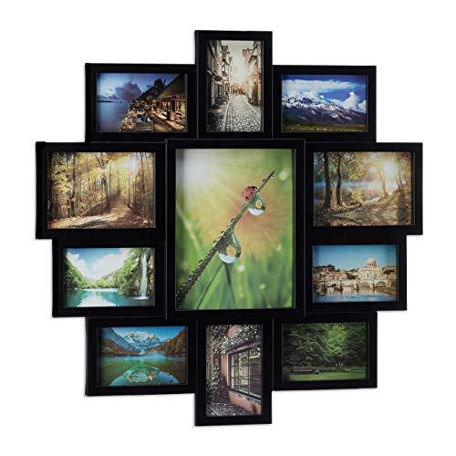 Relaxdays Marco de Fotos Múltiple, 11 Fotografías, para Colgar, Plástico, DM y Cartón, 1 Ud, Negro, 61.5x61.5x2 cm