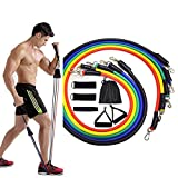 Full Body Resistance Band Set, 11 Pack Exercises Bands Stackable up to 100lb, Indoor/Outdoor Workout Bands with Door Anchor & Handle for Fitness,Strenth,Slim,Yoga,Home Gym Equipment for Men Women