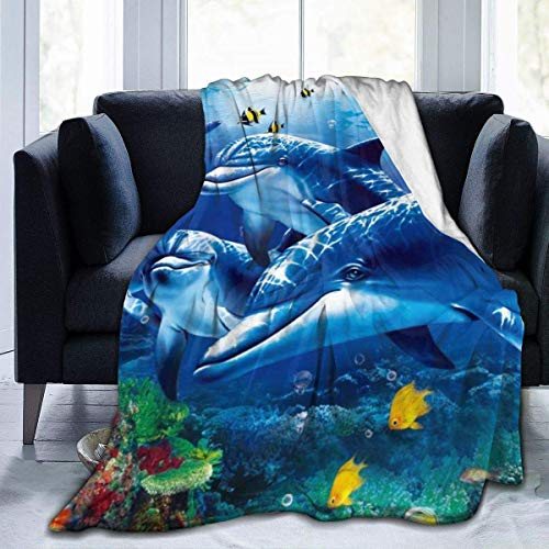 Marine Life Blue Sea World Coral Dolphin Micro Fleece Flannel Throw Blankets Lightweight Super Soft Bed Blanket Fit Couch Suitable for All Season