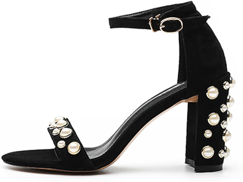 LIUXUEPING LIUXUEPING LIUXUEPING Tjock med Sandaler Kvinnliga Sommar Nya Kvinnors skor med Vilda ihåliga Open Toe Pearl Buckle med High klackar Kvinna (Färg  Svart, Storlek  37)  officiellt godkännande