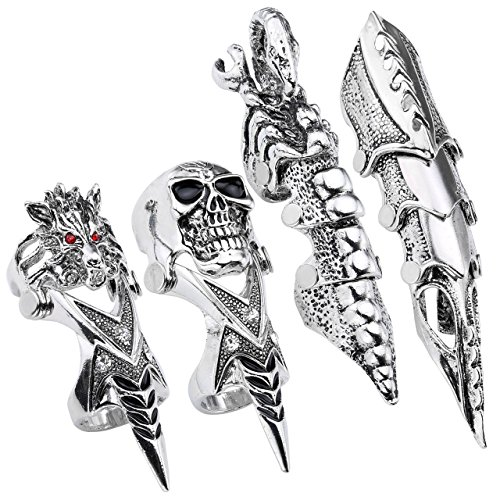 PiercingJ 4pc Men's Armor Knuckle Full Finger Double Ring Punk Joint Armor Ring Rock Gothic Jewelry Cool