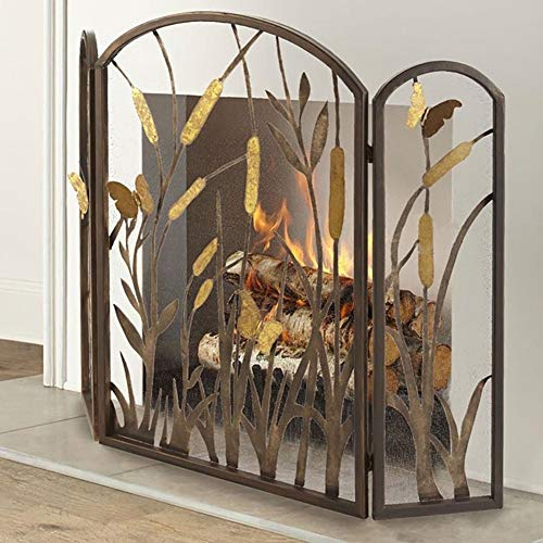 Find Bargain Large Bronze Fireplace Screen, 4 Panel Wrought Iron Black Fireplace Decorative Metal Me...