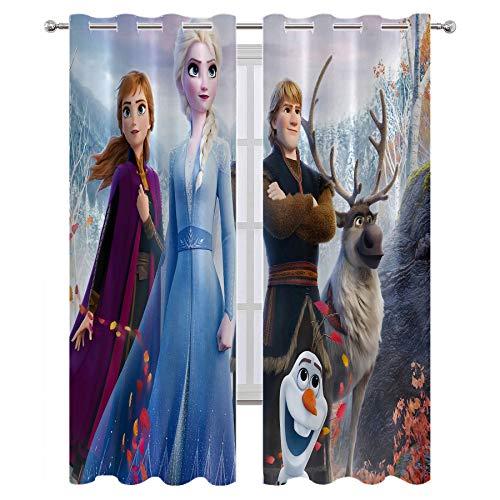 SSKJTC Decoración moderna para el hogar sala de estar, películas de anime, Frozen Princesa Elsa Anna Kristoff Olaf Hans Chic Cortina de tela para dormitorio o sala de estar (55 x 63 pulgadas)