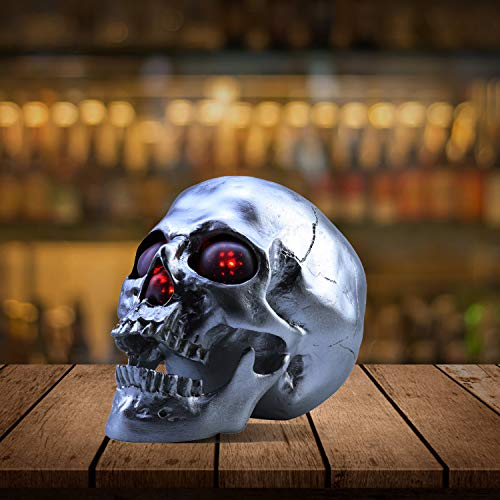Wireless Life Size Skull Bluetooth Speaker with Led Flashing Eyes and Nose for Home Decor, Silver