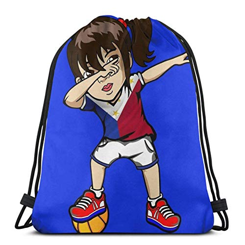 LAKILAN Lightweight Rucksack,Drawstring Backpack,Gym Sack,Storage Goodie Cinch Bag,Men Sport Bag,Large Capacity Travel Bag Dabbing Girl Philippine Flag Filipino Meme Jersey Dab Basketball Practice