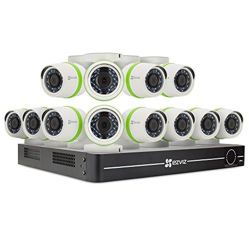 EZVIZ CRISPr FULL HD 1080P Outdoor Surveillance System, 12 Weatherproof HD Security Cameras, 16 Channel 2TB DVR Storage, 100ft EXIR Night Vision, Customizable Motion Detection Zones