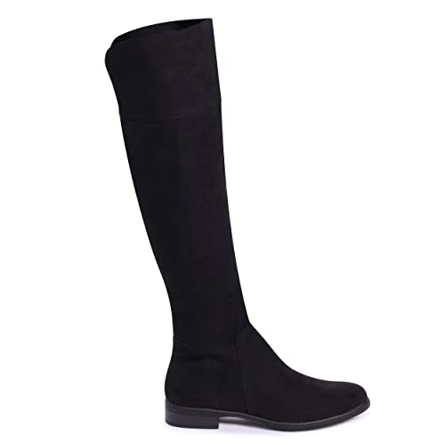 1d4f84aeae9 Linzi Suzanne - Black Suede Flat Knee High Boot