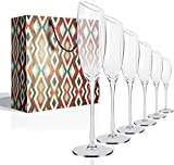 FSJIANGYUE Copas de Vino Conjunto de 6, 17 oz vástago Largo, Cristal a Mano cristalina roja y Copas de Vino Bisel Boca Caja de Plomo (Color : 6 Oz Set of 6 Champagne Glass)