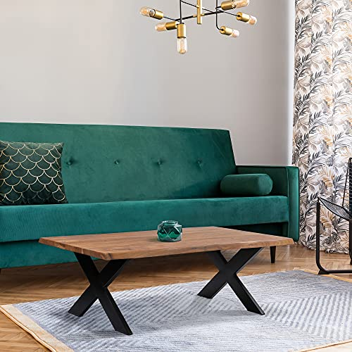 WOMO-DESIGN Mesa de Centro con Borde de Árbol 110 x 70 cm de Madera Acacia Maciza con Estructura Metálica de Acero Pies en X Diseño Industrial Tallado a Mano Mueble Auxiliar Decorativa