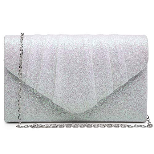 Dasein Women Glistening Evening Bags Pleated Clutch Handbags Wedding Purses Cocktail Prom Hand Pouch Ivory White