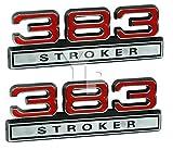 383 6.2 Liter Stroker Engine Emblems in Chrome & Red - 4' Long Pair