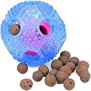 Wangou Interactive Dog Toy - IQ Treat Ball Food Dispensing Toys for Small Medium Large Dogs Durable Chew Ball - Nontoxic Rubber and Bouncy Dog Ball - Cleans Teeth (Blue)