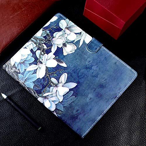 UUcovers Universal-Schutzhülle für 16,5 bis 19,1 cm Tablet, ultradünn, PU-Leder, Rutschfeste Rillen mit Kartenfächern und Stylus-Stift-Halterung für 16,5 bis 19,1 cm Tablet, Magnolia Flower