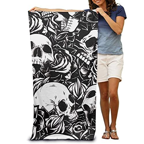 Toalla de baño unisex con diseño de calavera floral negra, superabsorbente y de secado rápido, para viajes, playa, fitness, 80 x 130 cm