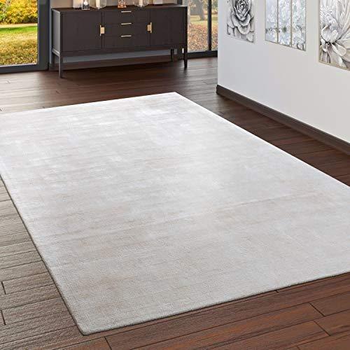 Paco Home Teppich Handgefertigt Hochwertig 100% Viskose Vintage Aufällig Meliert In Creme, Grösse:120x170 cm