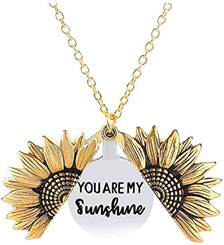 Sunflower Locket Necklace You are My Sunshine Engraved Chain Necklace for Women Girls with Nice Gift Box