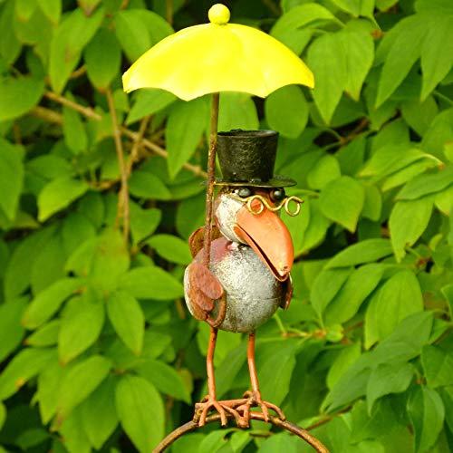 Pommerntraum ®| Regenmesser - Niederschlagsmesser - Pluviometer mit Meisenknödelhalter - Herr Prof. Dr. Rabe - verrückter Vogel mit Hut + gelbem Regenschirm - tolle Gartendekoration!