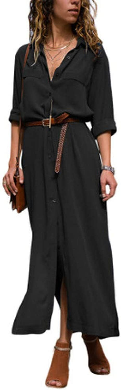 AIYKXY Womens Dress LongSleeved High Waist Skirt Shirt Style Dress