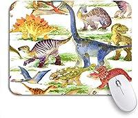 ROSECNY 可愛いマウスパッド カラフルな漫画かわいい恐竜水彩ジャングルシルエット動物考古学ノンスリップゴムバッキングマウスパッドノートブックコンピューターマウスマット