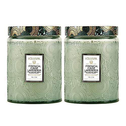 Voluspa French Cade and Lavender Large Embossed Glass Jar Candles (18oz, 2-Pack) Bundle (2 Items)