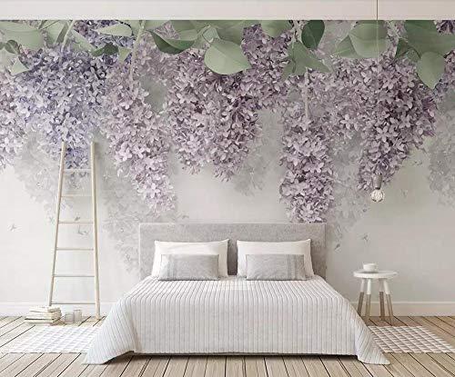 Tapete Wandgemälde Fototapete Wallpaper Wandbild Tapete Schöne lila lila glisteria 3d blumen hochzeitsraum wohnzimmer schlafzimmer hintergrund wand-Ca. 430 x 300 cm