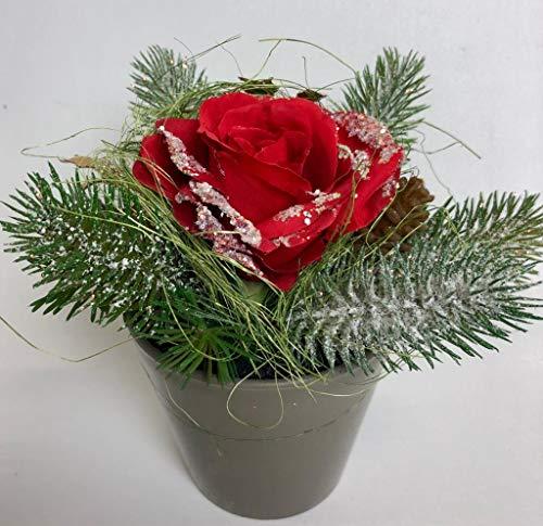 Passion MaDe Blumengesteck Rose Rosengesteck Weihnachtsdeko Gesteck Kunstblume Kunst Blume Dekoblume Seidenblume Tischgesteck Tischdeko künstlich unecht rot 16 cm 267513-02 F78