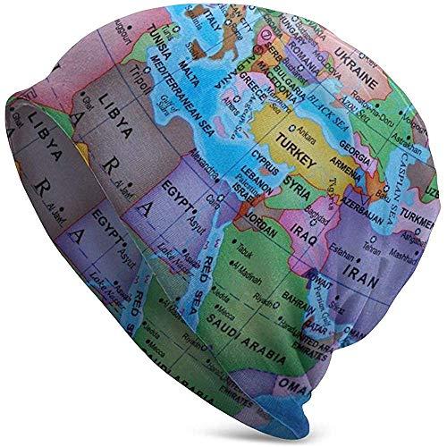 Gorro de Punto Gorro Multicolor Mapa del Mundo Gorra de Calavera Deportes al Aire Libre Otoño Invierno Gorro cálido para Hombres Negro