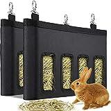 2 Pezzi Borsa Mangiatoia per Fieno di Coniglio Stoccaggio per Fieno di Cavia, Alimentatore da Appendere a Sacco per Piccoli Animali, Tessuto Oxford 600D di Grande Capacità (Nero)