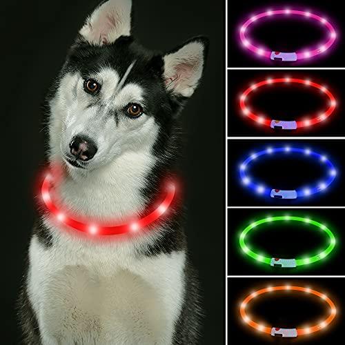 Collar de perro LED recargable USB que brilla intensamente para perros, collares de perro iluminados para mantener a tus perros (rojo)