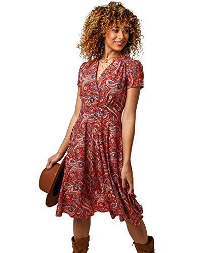 Joe Browns Damen Perfect Paisley Dress Lssiges Kleid, A-Rot Multi, 44