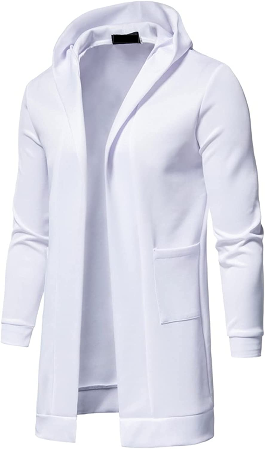 HONGJ Tunic Cardigan Coat for Mens, 2021 Long Sleeve Open Front Casual Windbreaker Fashion Long Outerwear with Pockets