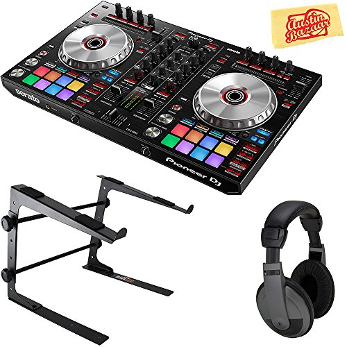 Pioneer DDJ-SX3 DJ Controller for Serato DJ Pro Bundle with Stand, Headphones, and Austin Bazaar Polishing Cloth