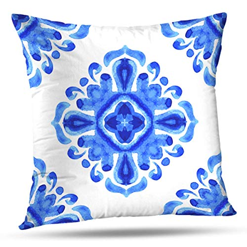 Fodere per Cuscini Blu Arabesque Damasco Floreale Ornamentale Acquerello Colore a Doppia Faccia Motivo per Divano Fodera per Cuscino Decorazione per Divano Letto di casa Federa