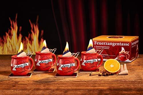 Feuerzangentasse 4er-Set, Rot/Apres Ski (mit Rum) - für Feuerzangenbowle